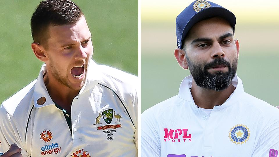 Josh Hazlewood helped ripped through the Indian batting order in their second innings to set up a shocking victory. Pictures: Getty IMages