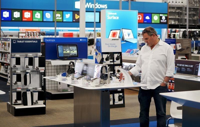 A customer looks at merchandise in a Best Buy store in Denver