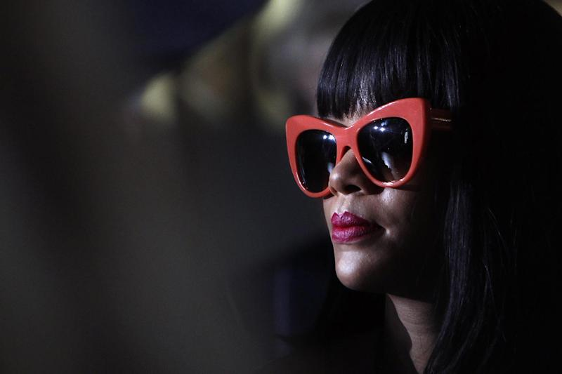 Singer Rihanna arrives at the Stella McCartney's ready-to-wear fall/winter 2014-2015 fashion collection presented in Paris, Monday, March 3, 2014. (AP Photo/Thibault Camus)