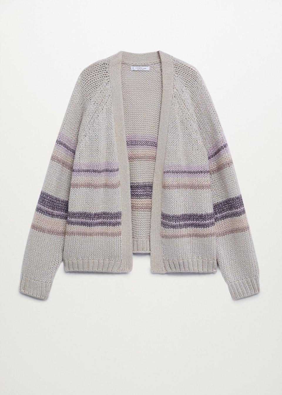 """<br><br><strong>Mango</strong> Metallic Knitted Cardigan, $, available at <a href=""""https://shop.mango.com/gb/plus-size/sweaters-and-cardigans/metallic-knitted-cardigan_77027607.html"""" rel=""""nofollow noopener"""" target=""""_blank"""" data-ylk=""""slk:Mango"""" class=""""link rapid-noclick-resp"""">Mango</a>"""
