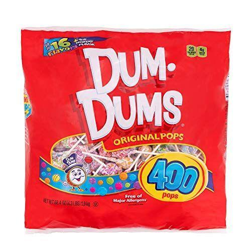 """<p><strong>Dum Dums</strong></p><p>amazon.com</p><p><strong>$21.15</strong></p><p><a href=""""https://www.amazon.com/dp/B01N2UTKE9?tag=syn-yahoo-20&ascsubtag=%5Bartid%7C2141.g.34414052%5Bsrc%7Cyahoo-us"""" rel=""""nofollow noopener"""" target=""""_blank"""" data-ylk=""""slk:Shop Now"""" class=""""link rapid-noclick-resp"""">Shop Now</a></p><p>Plenty of classic candy, including these time-honored lollipops, is already vegan. This 400-count bag is enough to last you until next Halloween.</p>"""