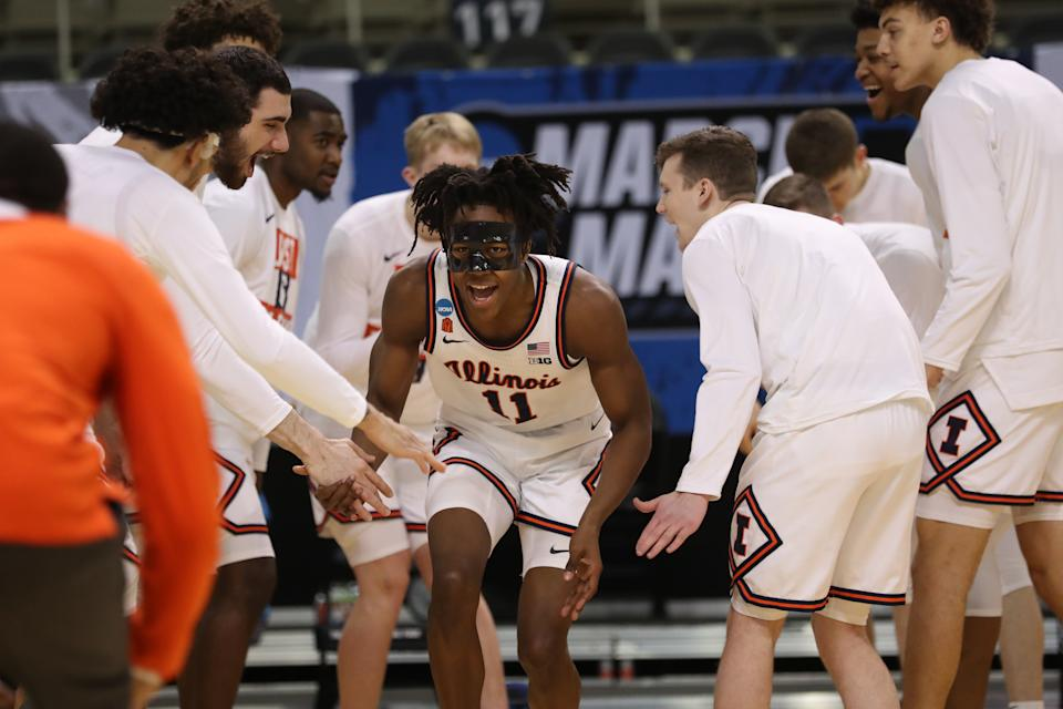 INDIANAPOLIS, IN - MARCH 19: Ayo Dosunmu #11 of the Illinois Fighting Illini is introduced before the start of the first round of the 2021 NCAA Division I Mens Basketball Tournament held at Indiana Farmers Coliseum on March 19, 2021 in Indianapolis, Indiana. (Photo by Trevor Brown Jr/NCAA Photos via Getty Images)