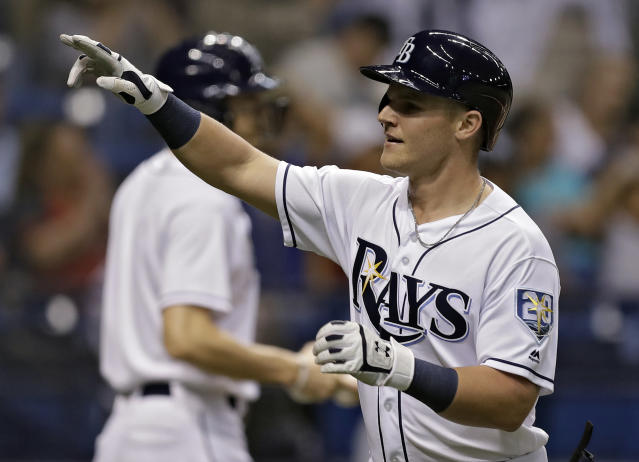 Tampa Bay Rays' Jake Bauers celebrates after his two-run home run off Cleveland Indians pitcher Corey Kluber during the second inning of a baseball game Monday, Sept. 10, 2018, in St. Petersburg, Fla. (AP Photo/Chris O'Meara)