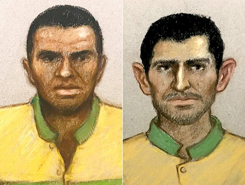 An artists' impression from an earlier hearing showing Svenson Ong-a-kwie (left) and Manuel Petrovic (right). (PA)