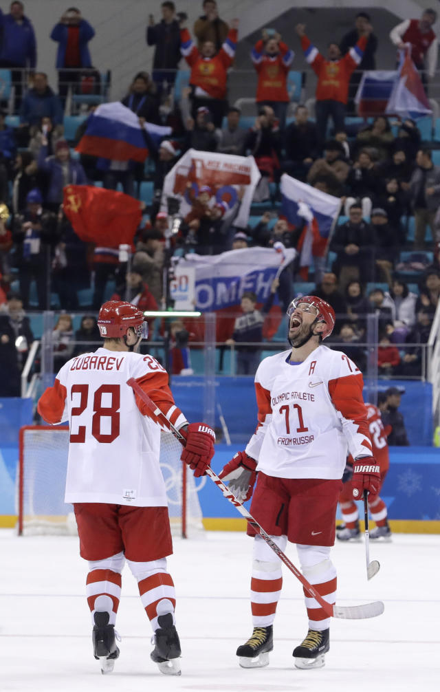Russian athlete Ilya Kovalchuk (71) reacts after scoring a goal against the Czech Republic during the third period of the semifinal round of the men's hockey game at the 2018 Winter Olympics in Gangneung, South Korea, Friday, Feb. 23, 2018. Olympic Athletes from Russia won 3-0. (AP Photo/Matt Slocum)