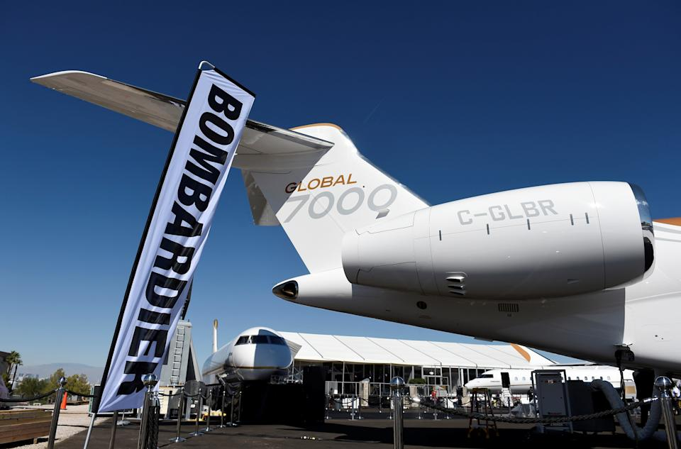 Bombardier's new Global 7000 business jet is seen during the National Business Aviation Association conference and expo at the Henderson Executive Airport in Henderson, Nevada, U.S., October 8, 2017.  REUTERS/David Becker