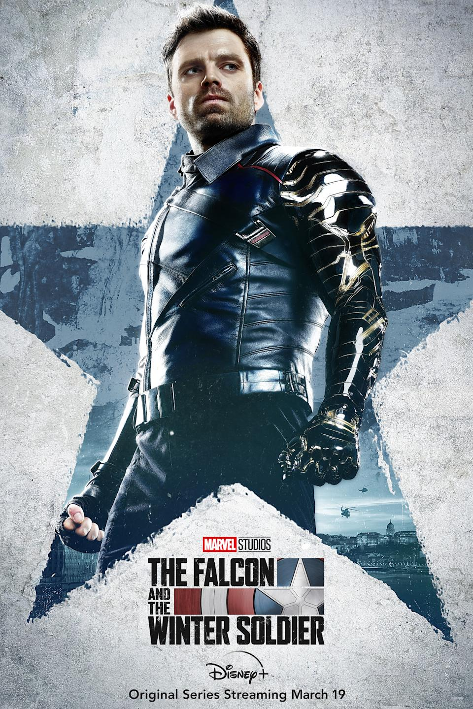 Sebastian Stan as Bucky Barnes aka The Winter Soldier in character posters for Marvel Studios' Disney+ series, The Falcon And The Winter Soldier.