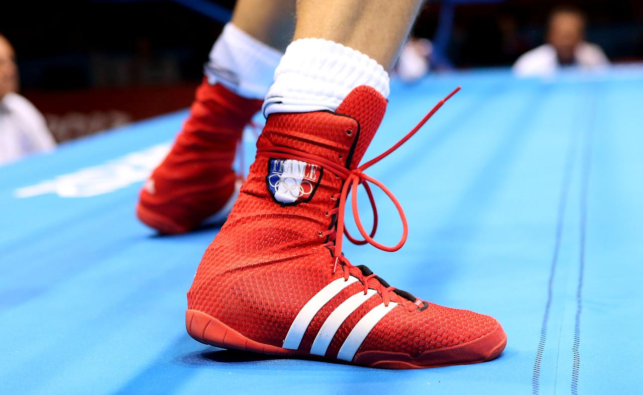 LONDON, ENGLAND - AUGUST 03:  A view of the boot of Alexis Vastine of France during his Men's Welter (69kg) Boxing against Tuvshinbat Byamba of Mongolia on Day 7 of the London 2012 Olympic Games at ExCeL on August 3, 2012 in London, England.  (Photo by Scott Heavey/Getty Images)