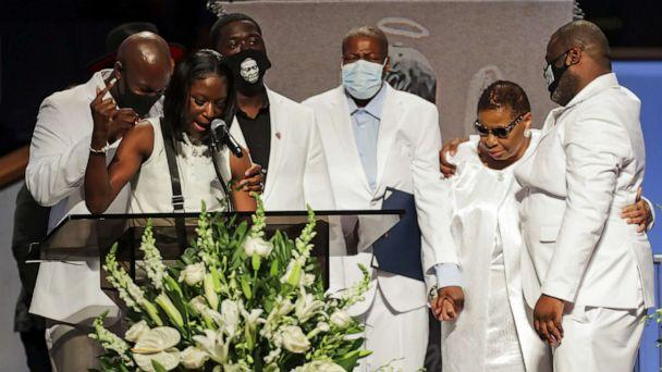 PHOTO: Brooke Williams, niece of George Floyd, speaks with the rest of the family, during the funeral for George Floyd at The Fountain of Praise Church on June 9, 2020, in Houston. (Godofredo A. Vasquez/Pool via Getty Images)