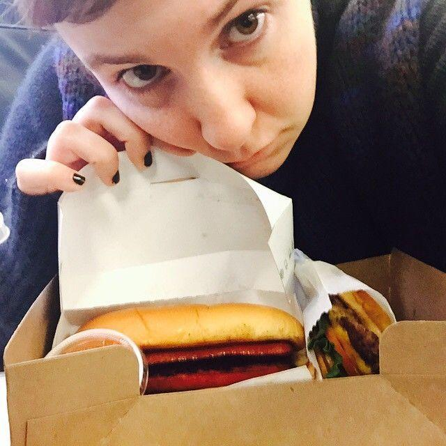 "<p>Like many a New Yorker, Lena Dunham is a fan of Shake Shack — and apparently doesn't want to have to choose between its hot dogs and cheeseburgers. PHOTO: VIA <a href=""https://www.instagram.com/p/151eQbC1B0/"">@LENADUNHAM</a>.</p>"