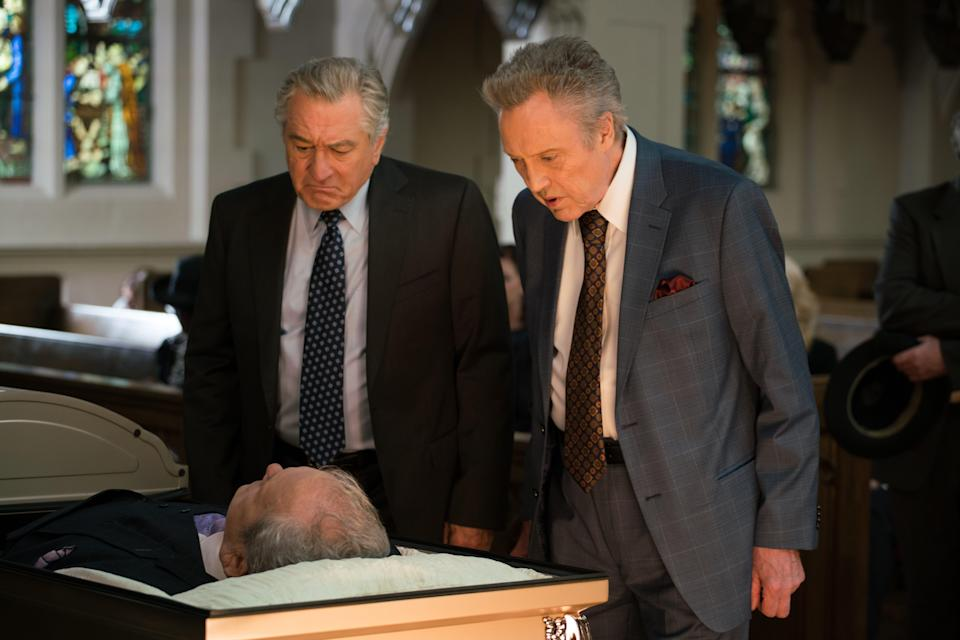 "Ed (Robert De Niro) supports his friend Jerry (Christopher Walken) who attends the funeral of his adventure buddy Carl (James Martin Kelly) in ""The War With Grandpa."""