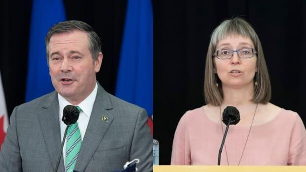 Premier Jason Kenney and Dr. Deena Hinshaw, Alberta's chief medical officer of health, provide an update about COVID-19 and the ongoing work to protect public health. (Chris Schwarz/Government of Alberta - image credit)