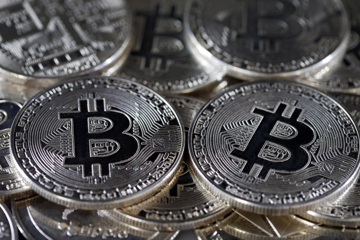 A visual representation of the digital cryptocurrency bitcoin. Photo: Chesnot/Getty Images