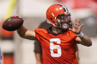 Cleveland Browns quarterback Baker Mayfield throws during an NFL football practice, Saturday, July 31, 2021, in Berea, Ohio. (AP Photo/Tony Dejak)