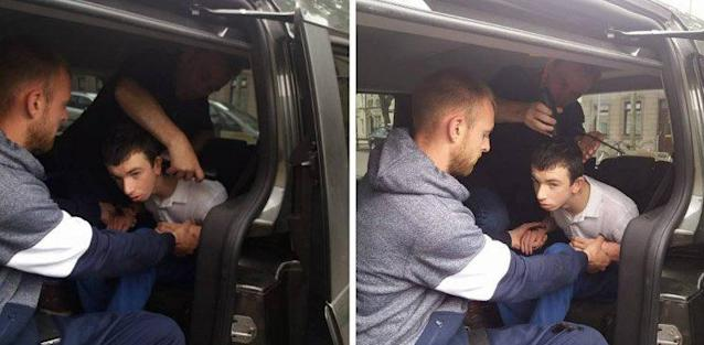 A barber gives 16-year-old Evan O'Dwyer a haircut in the family's car where Evan feels safe. (Photo: Evan O'Dwyer/Facebook)