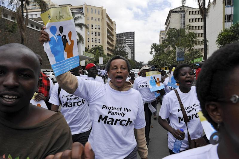 Kenyans, some of whom are members of a Christian lobby group, hold a protest against homosexuality in the capital Nairobi, on July 6, 2015, signalling to US President Barack Obama their opposition to gay rights ahead of his visit on 25 July to Kenya (AFP Photo/Simon Maina)