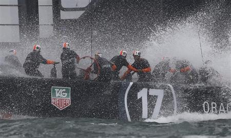 The Oracle Team USA AC72 catamaran trains on San Francisco Bay
