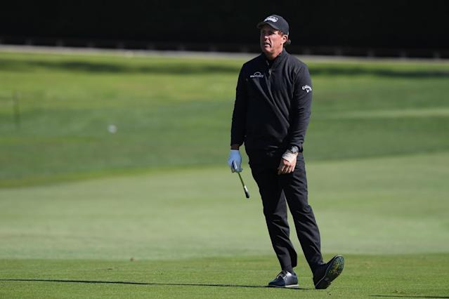 "<div class=""caption""> Phil Mickelson reacts after playing a shot during the final round of the 2020 AT&T Pebble Beach Pro-Am. </div> <cite class=""credit"">Harry How/Getty Images</cite>"