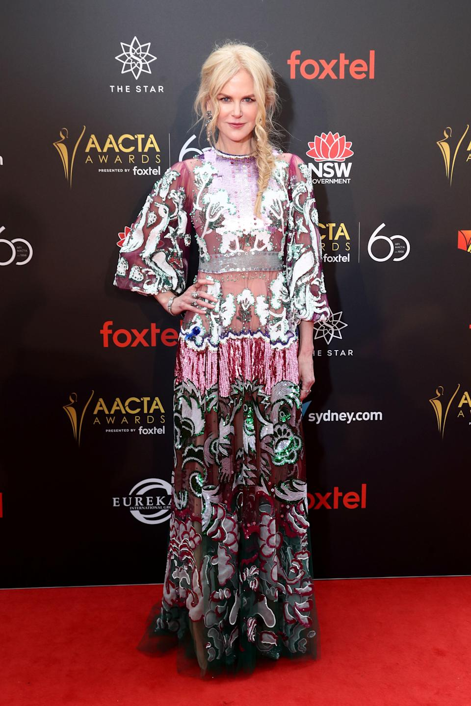 <p>The actress donned a printed, floor-sweeping Valentino SS19 gown for the event that she attended with her mum and niece. <em>[Photo: Getty]</em> </p>