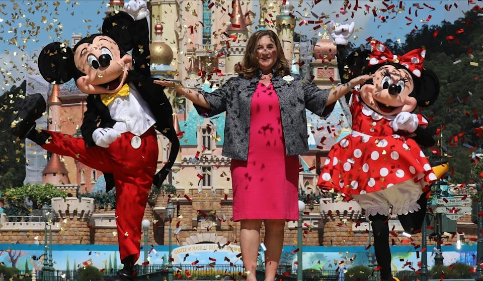 Stephanie Young, seen here officiating a Hong Kong Disneyland reopening ceremony in June, has been the park's managing director since February 2019. Photo: K. Y. Cheng