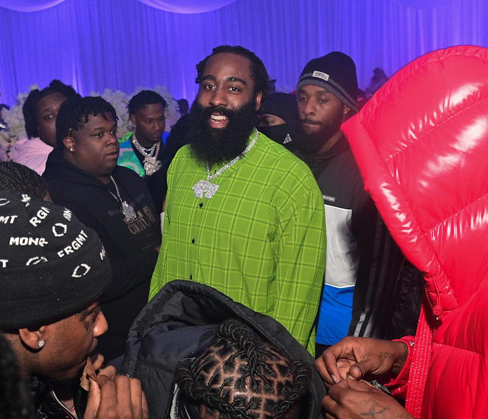 ATLANTA, GA - DECEMBER 03: James Harden and Lil Baby attend Lil Baby's Ice Ball on December 3, 2020 in Atlanta, Georgia.(Photo by Prince Williams/Wireimage)