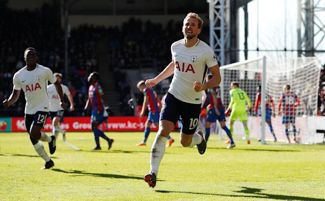 "Soccer Football - Premier League - Crystal Palace vs Tottenham Hotspur - Selhurst Park, London, Britain - February 25, 2018 Tottenham's Harry Kane celebrates scoring their first goal Action Images via Reuters/Paul Childs EDITORIAL USE ONLY. No use with unauthorized audio, video, data, fixture lists, club/league logos or ""live"" services. Online in-match use limited to 75 images, no video emulation. No use in betting, games or single club/league/player publications. Please contact your account representative for further details."