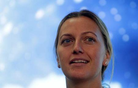 Czech Republic's tennis player Petra Kvitova speaks during a news conference in Prague