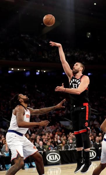 """TORONTO — Raptors fans welcomed newcomer Marc Gasol to Toronto with a standing ovation on Monday.The player affectionately known as """"Big Spain"""" showed them some love in return.Playing just his second game for the Raptors, and first in Toronto, Gasol scored nine of the Raptors' first 11 points in a key stretch of the fourth quarter against the Brooklyn Nets, including a three-pointer that gave Toronto a seven-point lead and brought the fans at Scotiabank Arena out of their seats.""""That was a heckuva stretch by him. Really fun, really impressive, right?"""" said Raptors coach Nick Nurse.Gasol had 16 points in 22 minutes of the Raptors' 127-125 victory, plus six rebounds and one of his two assists was a swift dish to a cutting Pascal Siakam for a big basket. The 34-year-old, who'd lived in Memphis since he was 16 and had been with the Grizzlies for 11 seasons, was traded for the first time last week when the Raptors acquired him in a blockbuster deal at Thursday's NBA trade deadline.Gasol, who received a standing ovation when he entered Monday's game with 3:03 left in the first quarter, said the team's lofty post-season aspirations, plus the team's Spanish connection, eased his transition.""""(It's) the sole goal of winning. There's no doubt, there's no hesitation, we're here to win, and how you contribute to that, it's what's important,"""" Gasol said through a wide smile. """"So that makes things a lot easier because at the end of the day that's the answer that you're going to get.""""Toronto Raptors president Masai Ujiri hasn't been shy about assembling pieces for a championship run, jettisoning a third of the team's roster, including Lithuanian centre Jonas Valanciunas, ahead of the trade deadline. And ESPN reported Monday afternoon that sharpshooter Jeremy Lin, who scorched the Raptors with a buzzer-beating three in his breakout 2011-12 season, is en route to Toronto.(Somebody had better teach the newcomers Kyle Lowry's quirky pre-game team intro, because Gasol certainly didn't g"""