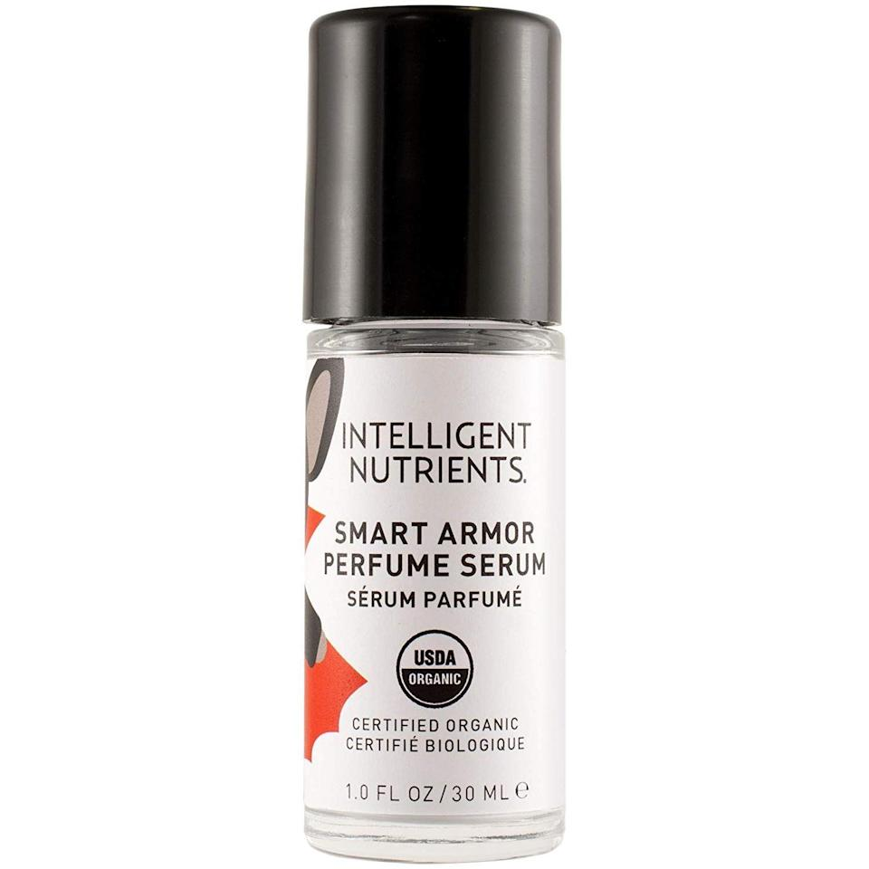 "<h3>Intelligent Nutrients Smart Armor Perfume Serum</h3> <br>Don't let the idea of mosquito-perfume <em>repel</em> you — this certified organic formula is, ""skillfully crafted to attract humans while at the same time repelling biting, stinging, scourging insects,"" with a non-citrus or citronella scent wrapped up inside sustainable packaging.<br><br><strong>Intelligent Nutrients</strong> Smart Armor Perfume Serum, 1oz, $, available at <a href=""https://www.amazon.com/Intelligent-Nutrients-Smart-Armor-Perfume/dp/B0163LA47S"" rel=""nofollow noopener"" target=""_blank"" data-ylk=""slk:Amazon"" class=""link rapid-noclick-resp"">Amazon</a><br>"