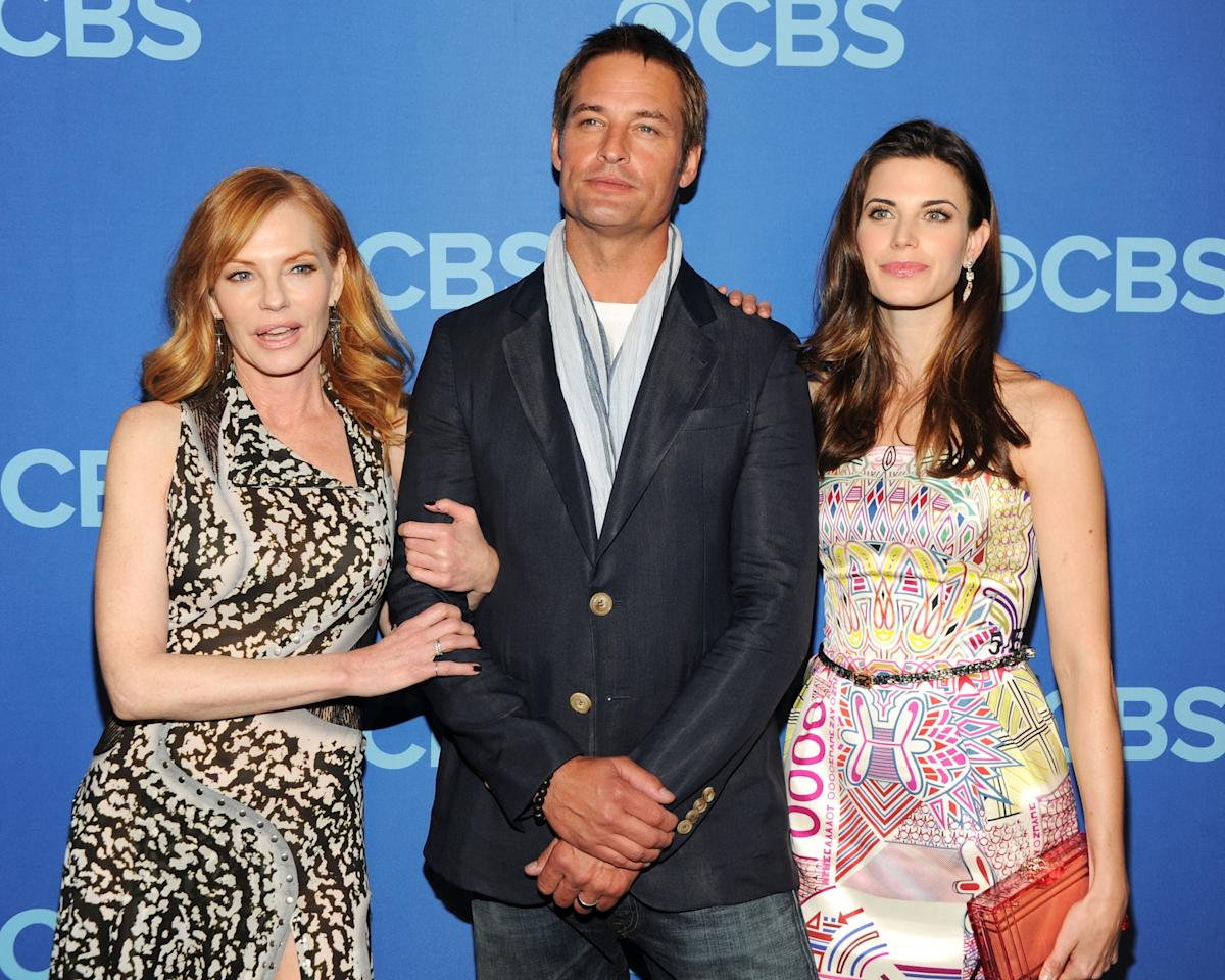 NEW YORK, NY - MAY 15:  (L-R) Cast members of Intelligence Marg Helgenberger, Josh Holloway and Meghan Org attend CBS 2013 Upfront Presentation at The Tent at Lincoln Center on May 15, 2013 in New York City.  (Photo by Ben Gabbe/Getty Images)