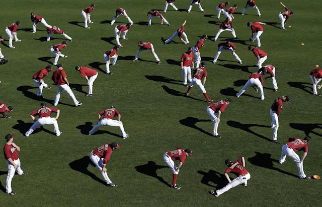 Arizona Diamondbacks stretch during baseball spring training Wednesday, Feb. 12, 2014, in Scottsdale, Ariz. (AP Photo/Gregory Bull)