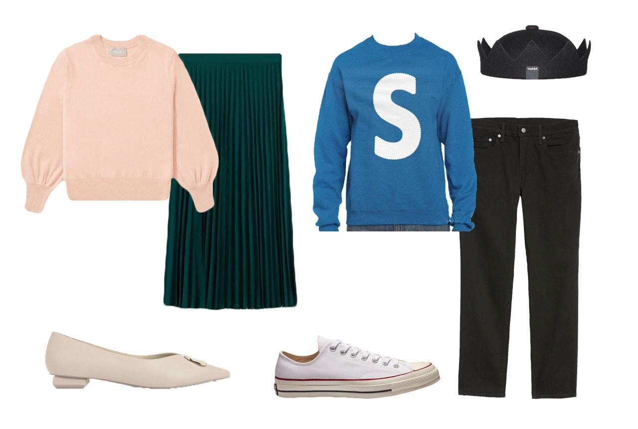 """Everlane the Cashmere Lantern Sweater, $120, available at <a href=""""https://www.everlane.com/products/womens-cashmere-lantern-sweater-rose?collection=womens-sweaters"""">everlane.com</a>; Mango Pleated Midi Skirt, $60, available at <a href=""""https://shop.mango.com/us/women/skirts-midi/pleated-midi-skirt_53095759.html"""">mango.com</a>; Charles & Keith Metal Accented Ballerina Flats, $49, available at <a href=""""https://www.charleskeith.com/us/shoes/metal-accented-ballerina-flats-chalk-ck1-70380761.html"""">charleskeith.com</a>   Frayel Classic 'S' Sweatshirt, $28, available at <a href=""""https://www.etsy.com/listing/504325996/classic-jughead-s-sweatshirt?ga_order=most_relevant&ga_search_type=handmade&ga_view_type=gallery&ga_search_query=jughead&ref=sr_gallery_2&utm_custom1=teenvogue.com&source=aw&utm_source=affiliate_window&utm_medium=affiliate&utm_campaign=us_location_buyer&utm_term=3657&awc=6220_1569942923_3555ab8087684cb0a015361f628d13c9&utm_content=78888"""">etsy.com</a>; Levi's 511 Slim Fit Jeans, $80, available at <a href=""""https://click.linksynergy.com/deeplink?id=lYYSEIC9SjY&mid=1237&u1=RiverdaleCostumes19&murl=https://shop.nordstrom.com/s/levis-511-slim-fit-jeans-nightshine-regular-tall/4107165?origin=category-personalizedsort&breadcrumb=Home%252FBrands%252FLevi%2520Strauss%252FMen&color=nightshine"""">nordstrom.com</a>; CrownHatNYC Jughead Crown Hat, $64, available at <a href=""""https://www.etsy.com/listing/466189704/jughead-crown-hat-100-wool-mens?gpla=1&gao=1&utm_campaign=us_location_buyer&utm_medium=affiliate&utm_source=affiliate_window&utm_custom1=teenvogue.com&utm_content=8656171&gclid=EAIaIQobChMIqKyT6Yjk1gIV2bbACh0oUgUsEAYYAiABEgJVNvD_BwE&source=aw&utm_term=3657&awc=6220_1569942925_7cb976db1881e1c521c792cf5d37429a"""">etsy.com</a>; Converse Chuck 70, $80, available at <a href=""""https://www.etsy.com/listing/466189704/jughead-crown-hat-100-wool-mens?gpla=1&gao=1&utm_campaign=us_location_buyer&utm_medium=affiliate&utm_source=affiliate_window&utm_custom1=teenvogue.com&utm_content="""