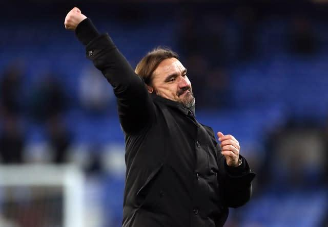 Daniel Farke celebrates Norwich's win (Richard Sellers/PA)