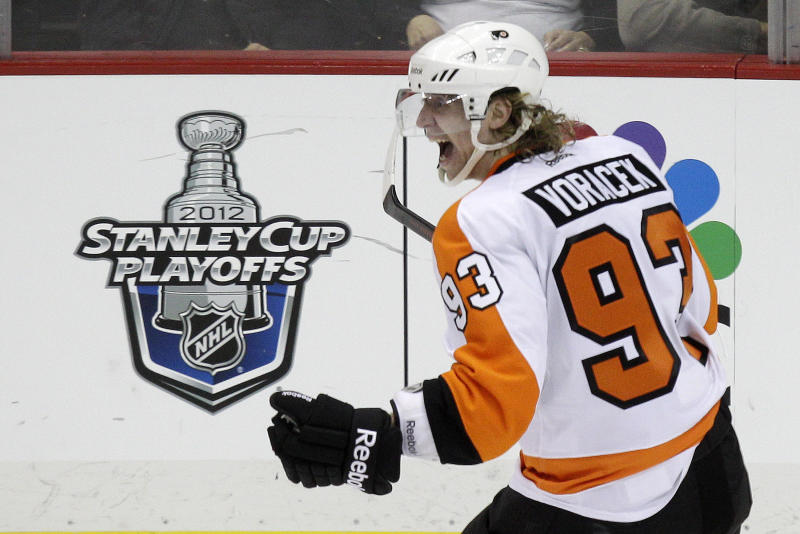 Philadelphia Flyers' Jakub Voracek celebrates his overtime goal during Game 1 of an opening-round NHL hockey playoff series against the Pittsburgh Penguins on Wednesday, April 11, 2012 in Pittsburgh. The Flyers won 4-3. (AP Photo/Gene J. Puskar)