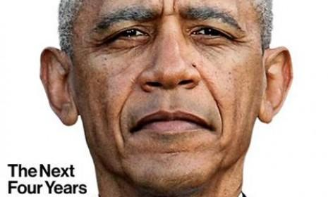 While most publications went for a celebratory shot, Bloomberg BusinessWeekphotoshopped an image forecasting the toll the next four years might take on Obama.