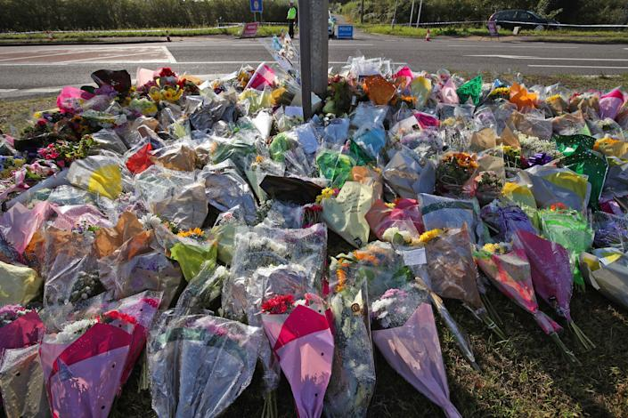 """Tributes left near the scene near Ufton Lane, Sulhamstead, Berkshire, where Thames Valley Police officer Pc Andrew Harper, 28, died following a """"serious incident"""" at about 11.30pm on Thursday near the A4 Bath Road, between Reading and Newbury, at the village of Sulhamstead in Berkshire."""
