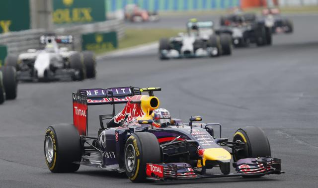 Red Bull driver Daniel Ricciardo of Australia steers his car during the Hungarian Formula One Grand Prix in Budapest, Hungary, Sunday, July 27, 2014. (AP Photo/Darko Vojinovic)