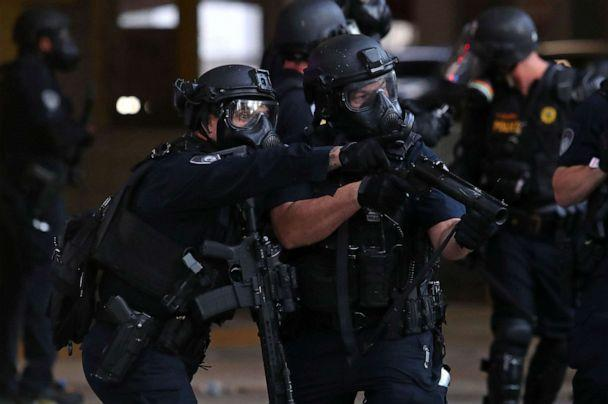 PHOTO: Police officers in downtown Fort Lauderdale, Florida, during a protest on May 31, 2020. (John McCall/Sun Sentinel/Tribune News Service via Getty Images)