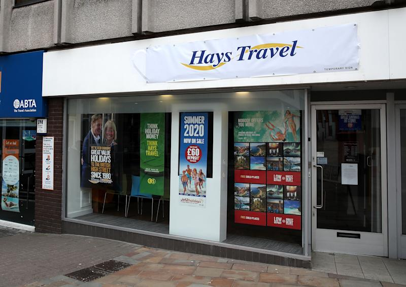 File photo dated 30/3/2020 of a branch of Hays Travel. Hays Travel is to cut up to 878 jobs out of a total workforce of 4,500 people, the firm announced.