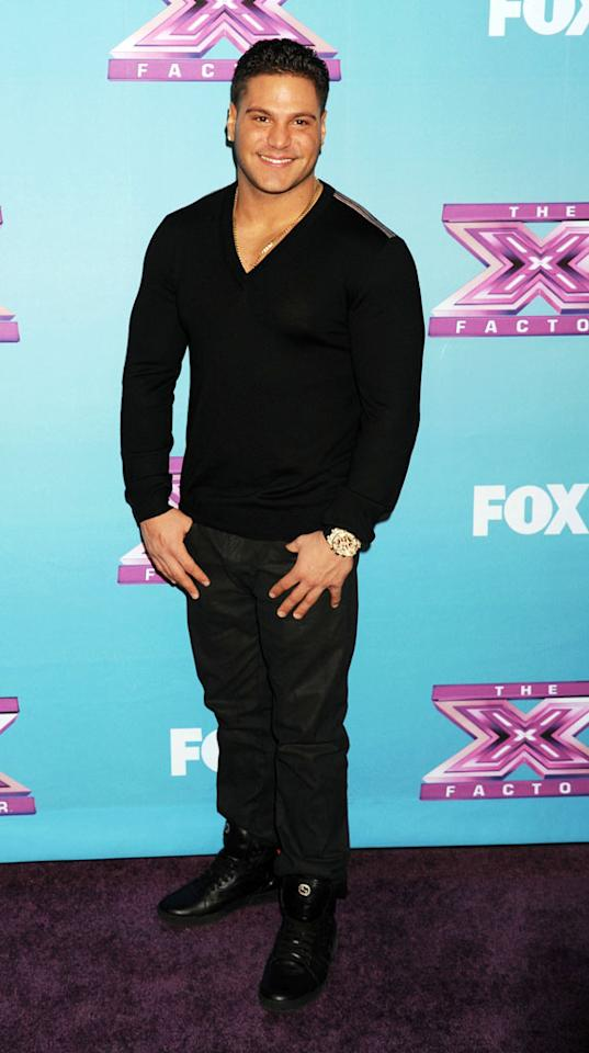 "Ronnie Ortiz-Magro arrives at Fox's ""The X Factor"" Season Finale Night 1 at CBS Televison City at CBS Studios on December 19, 2012 in Los Angeles, California."