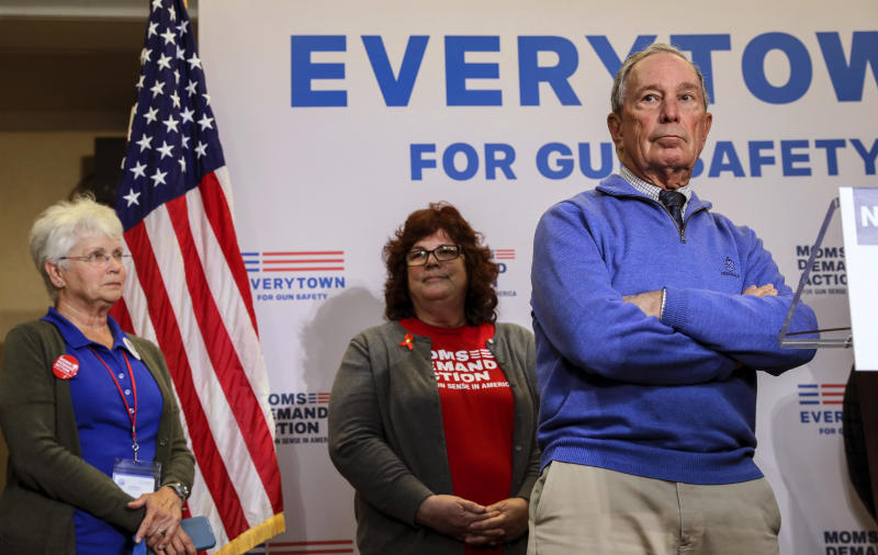 Former New York City Mayor Michael Bloomberg takes questions after speaking at a Moms Demand Action gun safety rally at City Hall in Nashua, N.H. Saturday, Oct. 13, 2018. (AP Photo/ Cheryl Senter)