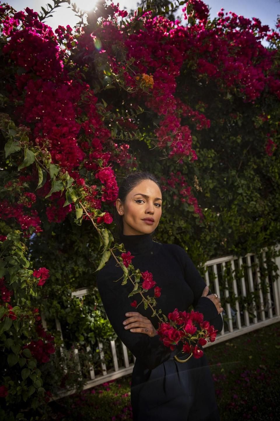 Actress Eiza Gonzalez is photographed in the backyard of her Sherman Oaks, CA, home, on Wednesday, March 24, 2021.