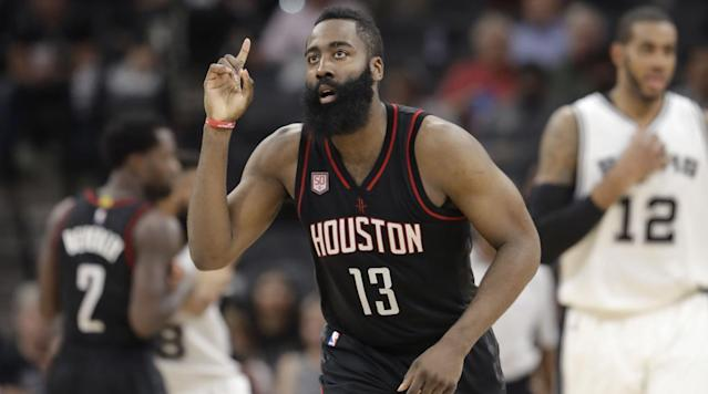 """<p>James Harden just <a href=""""https://www.si.com/nba/2017/07/08/james-harden-rockets-contract-extension-details"""" rel=""""nofollow noopener"""" target=""""_blank"""" data-ylk=""""slk:signed the biggest contract extension in NBA history"""" class=""""link rapid-noclick-resp"""">signed the biggest contract extension in NBA history</a> with the Houston Rockets earlier this summer. There is good reason to believe that a decent amount of that money will wind up on the floor of a Houston strip club.</p><p>According to Mal of the """"Joe Budden Podcast,"""" Harden has his jersey hanging from the rafters of """"one of the more popular"""" Houston strip clubs thanks to the amount he has spent there.</p><p>""""They was doing that because they said James just be going in there spending like ... you know what I mean,"""" Mal says about 21 minutes in on the <a href=""""https://twitter.com/thisisrory/status/890587704286728192"""" rel=""""nofollow noopener"""" target=""""_blank"""" data-ylk=""""slk:most recent episode"""" class=""""link rapid-noclick-resp"""">most recent episode</a>. """"So they gave him his own jersey hanging from the strip club.""""</p><p>Harden has been in Houston for five seasons now after spending the first three years of his career in Oklahoma City. He is under contract with the Rockets through 2022-23.</p><p>Based on this information, it seems safe to say that Harden is enjoying his time in Houston way more than he did in Oklahoma City, and he might not have any plans on ever leaving.</p><p>Harden's averages of 27.4 points and 7.6 assists are currently the top marks in franchise history. He is also third in win shares, trailing only Hall of Famers Hakeem Olajuwon and Calvin Murphy, so it seems likely that his jersey will eventually hang from some other rafters in Houston.</p>"""