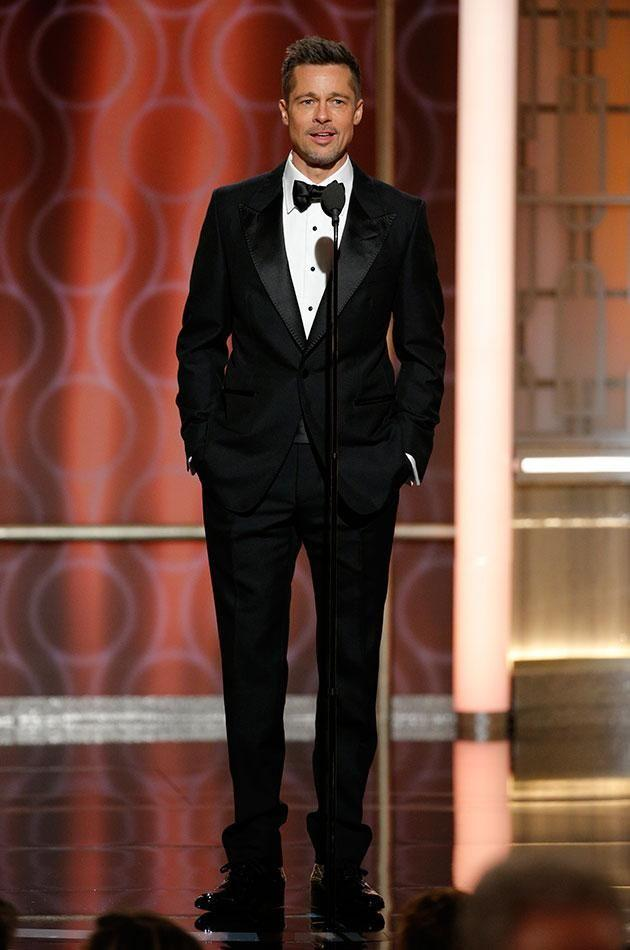 Brad made a surprise appearance at the Golden Globes. Source: Getty