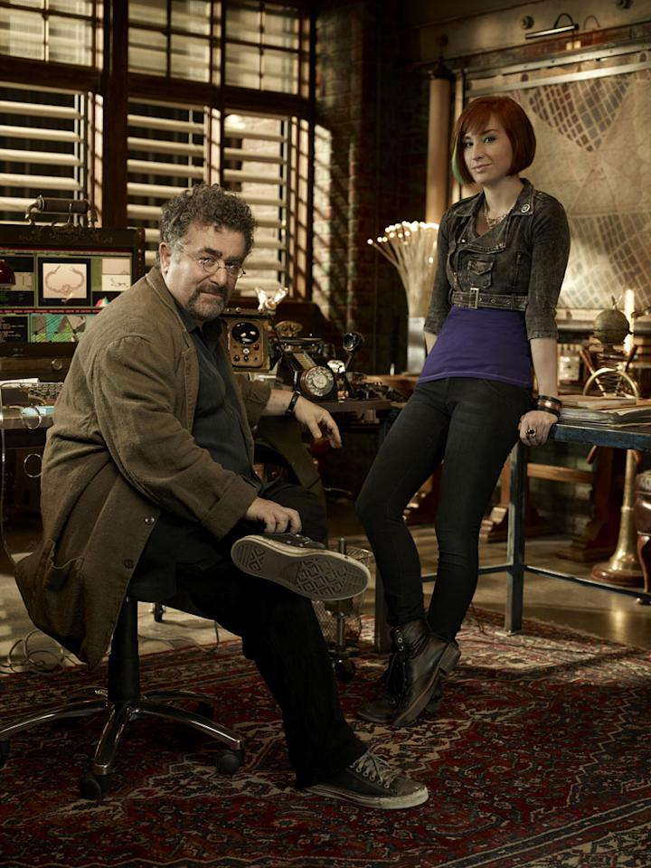"Saul Rubinek as Artie Nielsen and Allison Scagliotti as Claudia Donovan in ""Warehouse 13."""