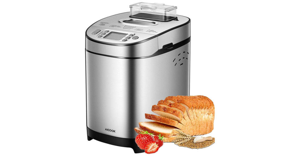 Aicook 2LB Stainless Steel Bread Machine (Photo: Amazon)