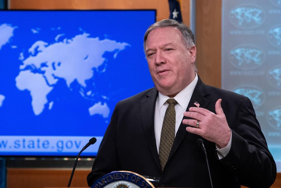 FILE - In this April 22, 2020, file photo, Secretary of State Mike Pompeo speaks during a press briefing at the State Department, in Washington. Pompeo has told his Southeast Asian counterparts that China is taking advantage of the world's preoccupation with the coronavirus pandemic to push its territorial ambitions in the South China Sea.(Nicholas Kamm/Pool Photo via AP, File)