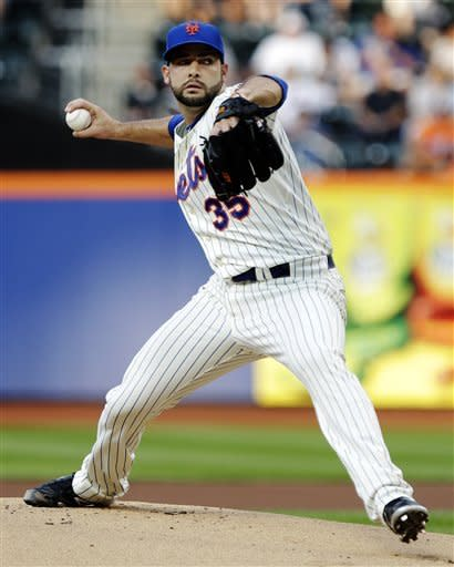 New York Mets' Dillon Gee (35) delivers a pitch during the first inning of an interleague baseball game against the Baltimore Orioles, Wednesday, June 20, 2012, in New York. (AP Photo/Frank Franklin II)