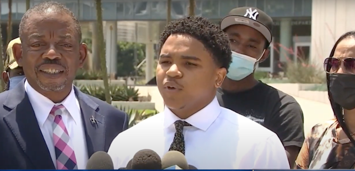 <p>Mr Shakir has a filed a civil lawsuit against Los Angeles and his uncle, a member of the LAPD.</p> (YouTube/NBC News)