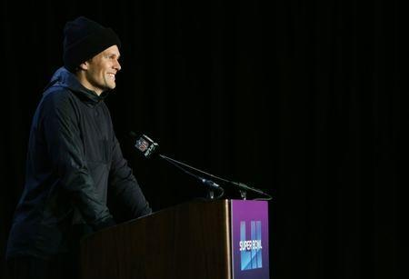 Jan 31, 2018; Bloomington, MN, USA; New England Patriots quarterback Tom Brady during a press conference at the Mall of America in advance of Super Bowl LII against the Philadelphia Eagles. Mandatory Credit: Jerry Lai-USA TODAY Sports